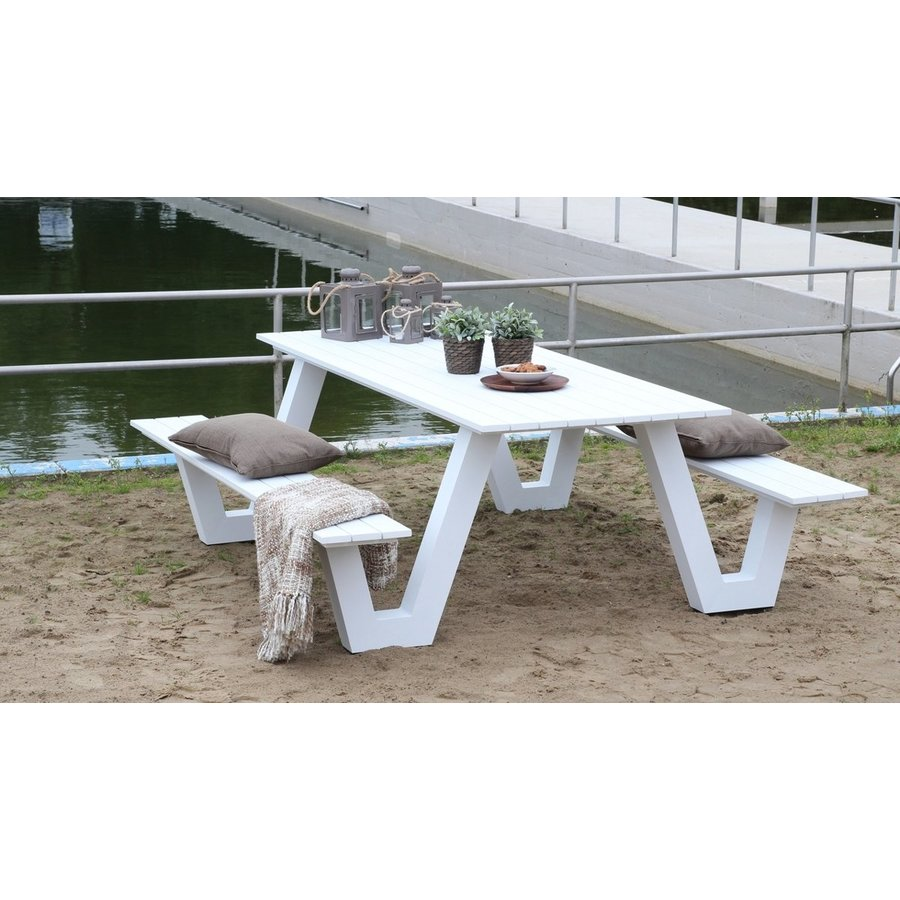 Picknicktafel - Breeze - Aluminium - Wit - Lesli Living-3