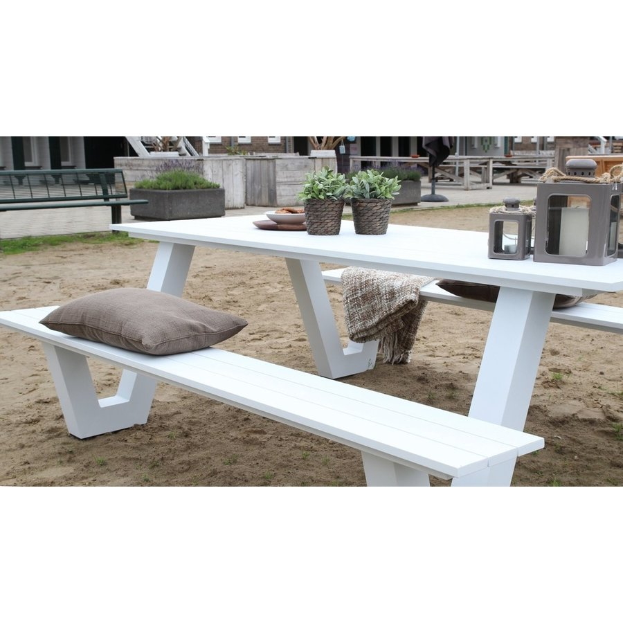 Picknicktafel - Breeze - Aluminium - Wit - Lesli Living-4