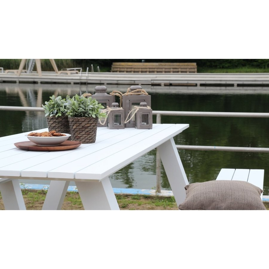 Picknicktafel - Breeze - Aluminium - Wit - Lesli Living-6