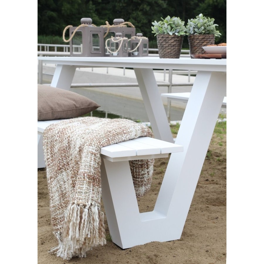 Picknicktafel - Breeze - Aluminium - Wit - Lesli Living-5