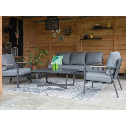 Lesli Living  Lounge Tuinbank - 3 Persoons - Mai Tai - Antraciet - Lesli Living