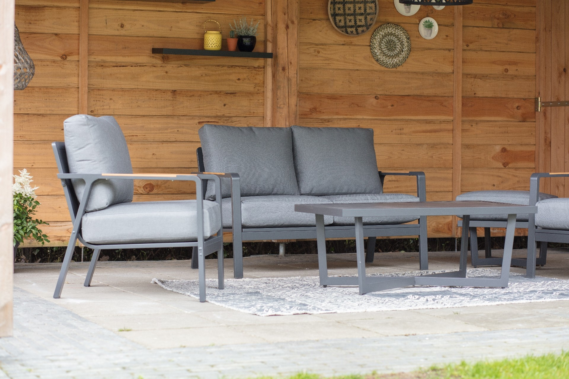 4 Persoons Design Bank.Stoel Bank Loungeset 4 Persoons Mai Tai Antraciet Lesli