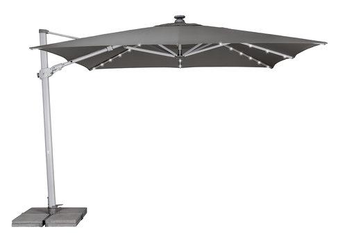 Zweefparasol - VarioFlex LED - 300x300 cm - Grijs - SunComfort by Glatz