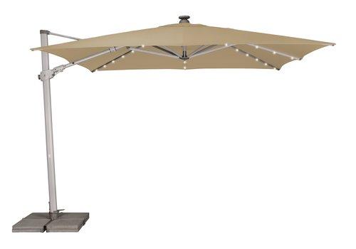 Zweefparasol - VarioFlex LED - 300x300 cm - Off Grey - SunComfort by Glatz