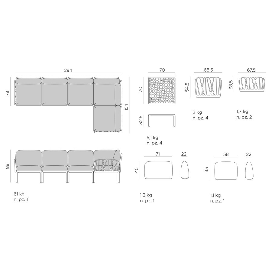 Komodo Loungeset - Beige / Wit - Sunbrella - Modulaire - Nardi-10