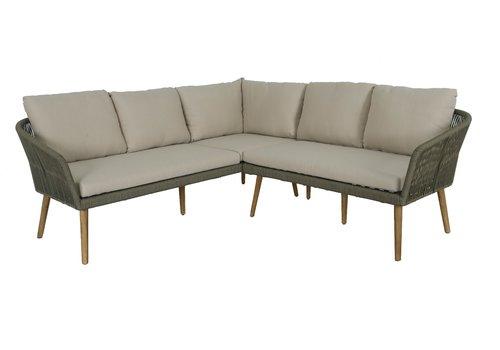 Hoek Loungeset - Altea - Olive - Rope - Alu - Garden Interiors