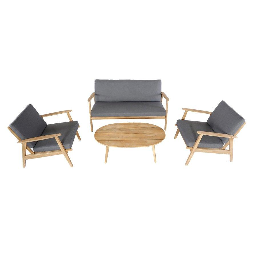 Stoel-Bank Loungeset - Narvik - Acacia - Grijs - Garden Interiors-4