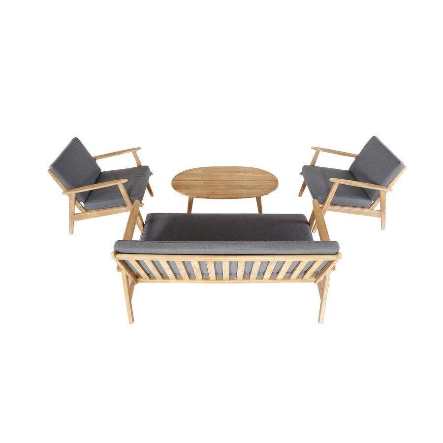 Stoel-Bank Loungeset - Narvik - Acacia - Grijs - Garden Interiors-5