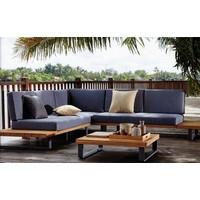 thumb-Hoek Loungeset - Basten - Acacia - Antraciet - Garden Interiors-3