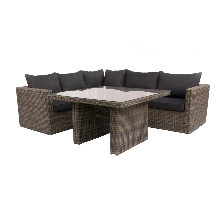 Dining Loungeset - Roma - Wicker - Donkergrijs - Garden Interiors-8