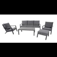 Stoel-Bank Loungeset – Down Town – Antraciet - Aluminium – Lesli Living