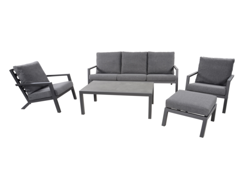 Stoel-Bank Loungeset – Down Town – Antraciet - Aluminium – Lesli Living