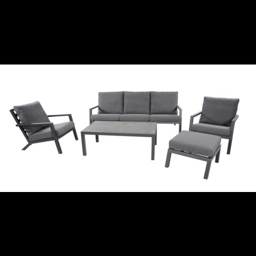 Lesli Living  Stoel-Bank Loungeset – Down Town – Antraciet - Aluminium – Lesli Living