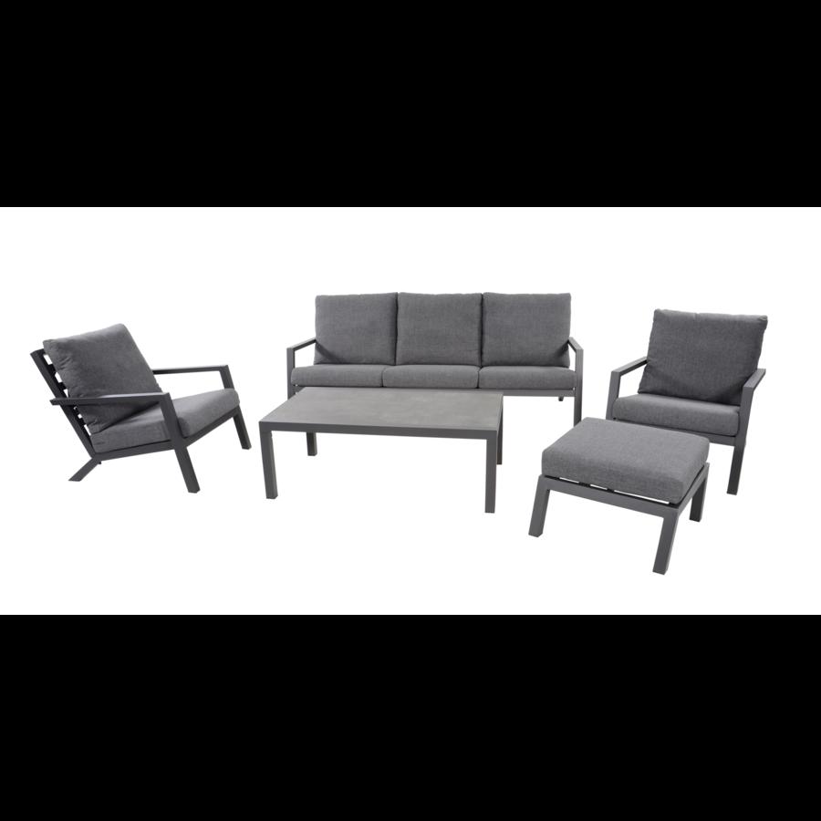 Stoel-Bank Loungeset – Down Town – Antraciet - Aluminium – Lesli Living-1