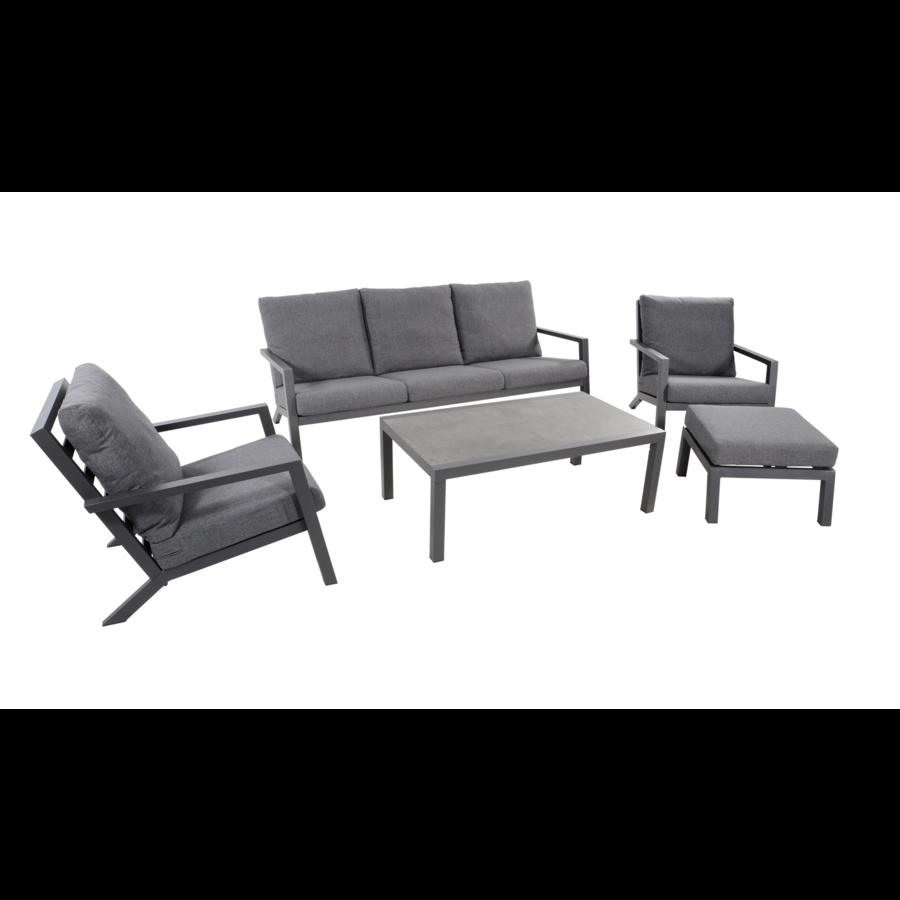 Stoel-Bank Loungeset – Down Town – Antraciet - Aluminium – Lesli Living-2