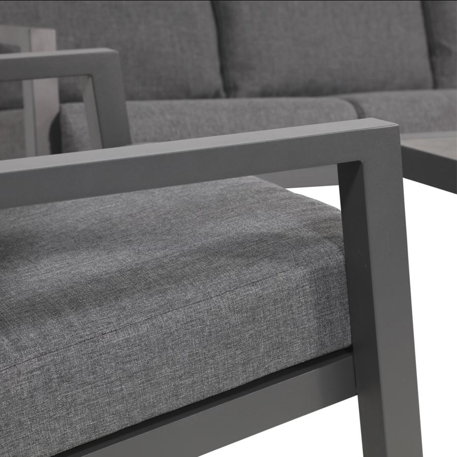 Stoel-Bank Loungeset – Down Town – Antraciet - Aluminium – Lesli Living-8