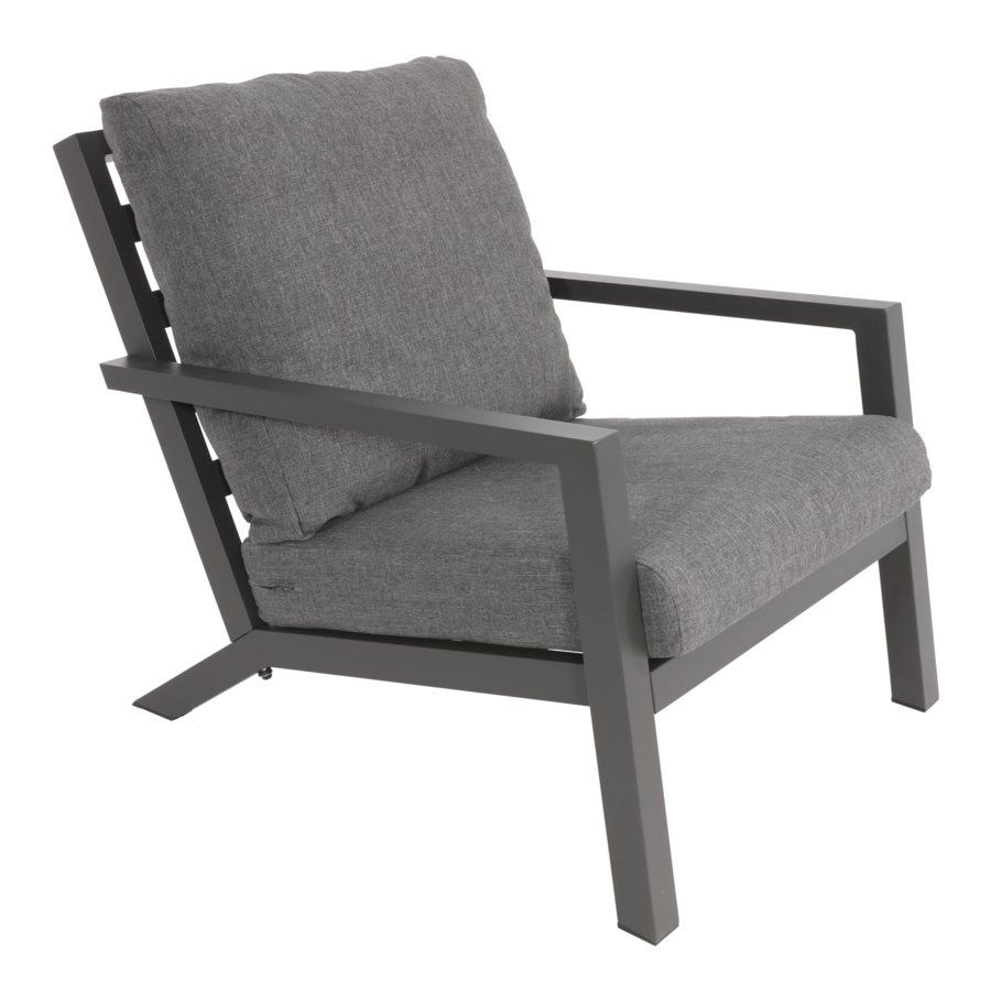 Stoel-Bank Loungeset – Down Town – Antraciet - Aluminium – Lesli Living-6