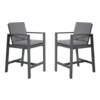 Lesli Living  Barstoel - Malibu - 2 Stuks - Antraciet - Aluminium - Lesli Living