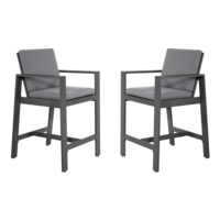 thumb-Barstoel - Malibu - 2 Stuks - Antraciet - Aluminium - Lesli Living-1