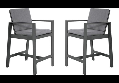 Barstoel - Malibu - 2 Stuks - Antraciet - Aluminium - Lesli Living