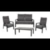 Lesli Living  Stoel-Bank Loungeset – Ohio – Antraciet - Aluminium – Lesli Living
