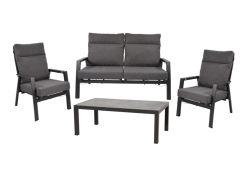 Stoel-Bank Loungeset – Ohio – Antraciet - Aluminium – Lesli Living