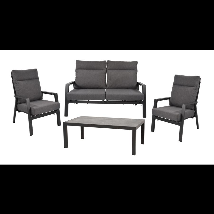 Stoel-Bank Loungeset – Ohio – Antraciet - Aluminium – Lesli Living-1