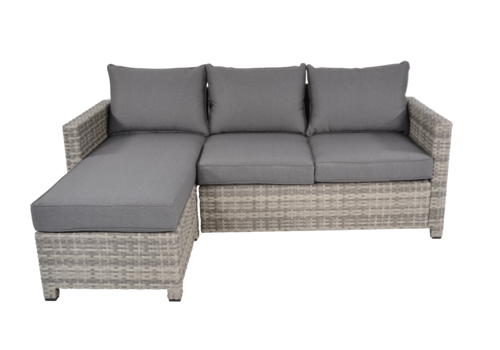 Chaise Longue Loungeset - Valencia - Grijs - Wicker - Lesli Living