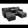 Lesli Living  Chaise Longue Multibank - Pandora - Zwart - Lesli Living