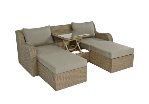 Chaise Longue Multibank - Pandora - Straw - Lesli Living