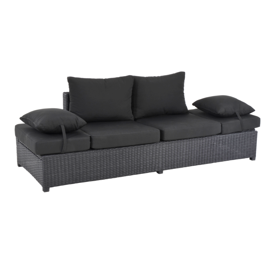 Loungebank - Roma - Zwart - Wicker - Lesli Living-1