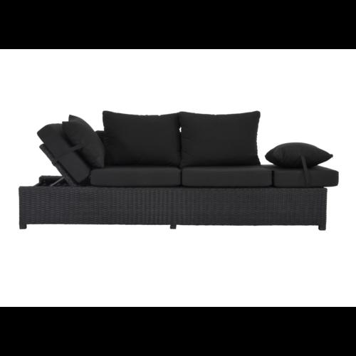 Lesli Living  Loungebank - Roma - Zwart - Wicker - Lesli Living