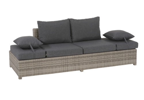 Loungebank - Roma - Grijs - Wicker - Lesli Living