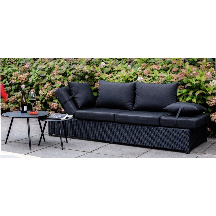 Loungebank - Roma - Zwart - Wicker - Lesli Living-3