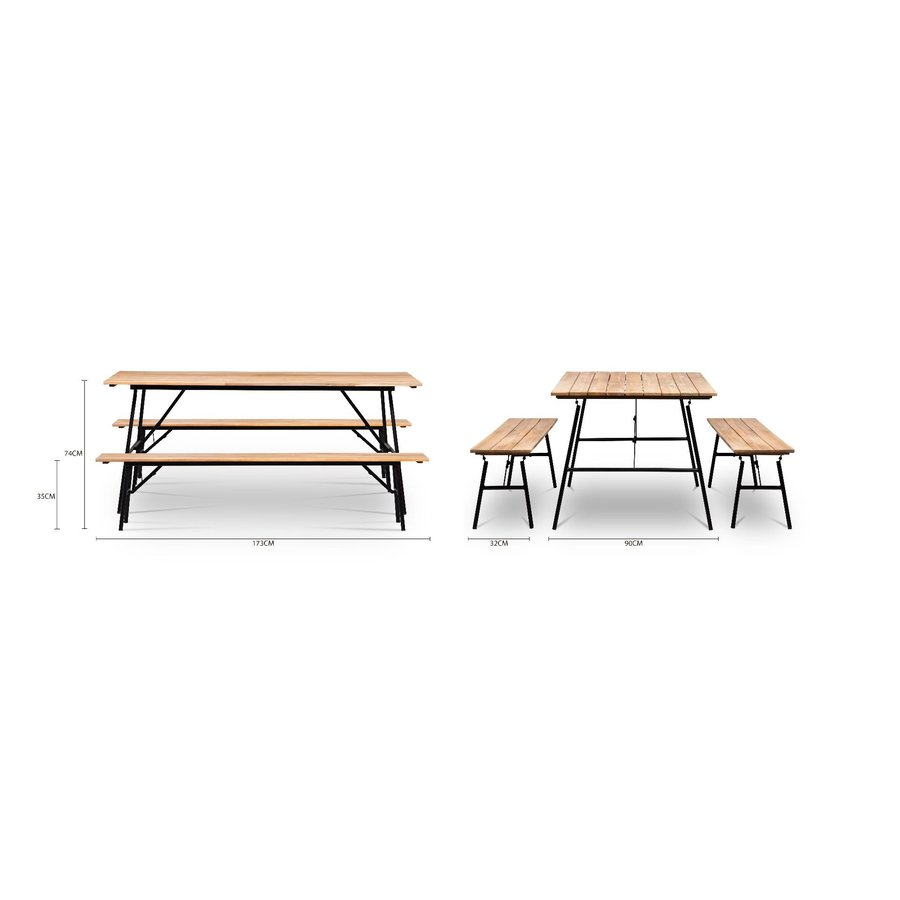 Tuintafel Inklapbaar - Vernon - Acacia - 180x90 cm - Garden Interiors-8