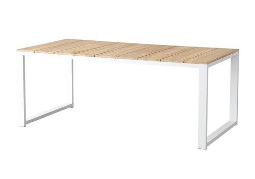 Tuintafel - Melton - Wit - Acacia/Aluminium - 200x100 cm - Garden Interiors