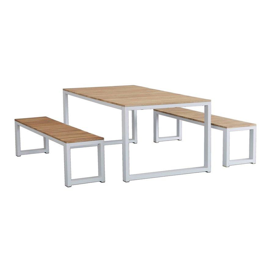Tuintafel - Melton - Wit - Acacia/Aluminium - 200x100 cm - Garden Interiors-4