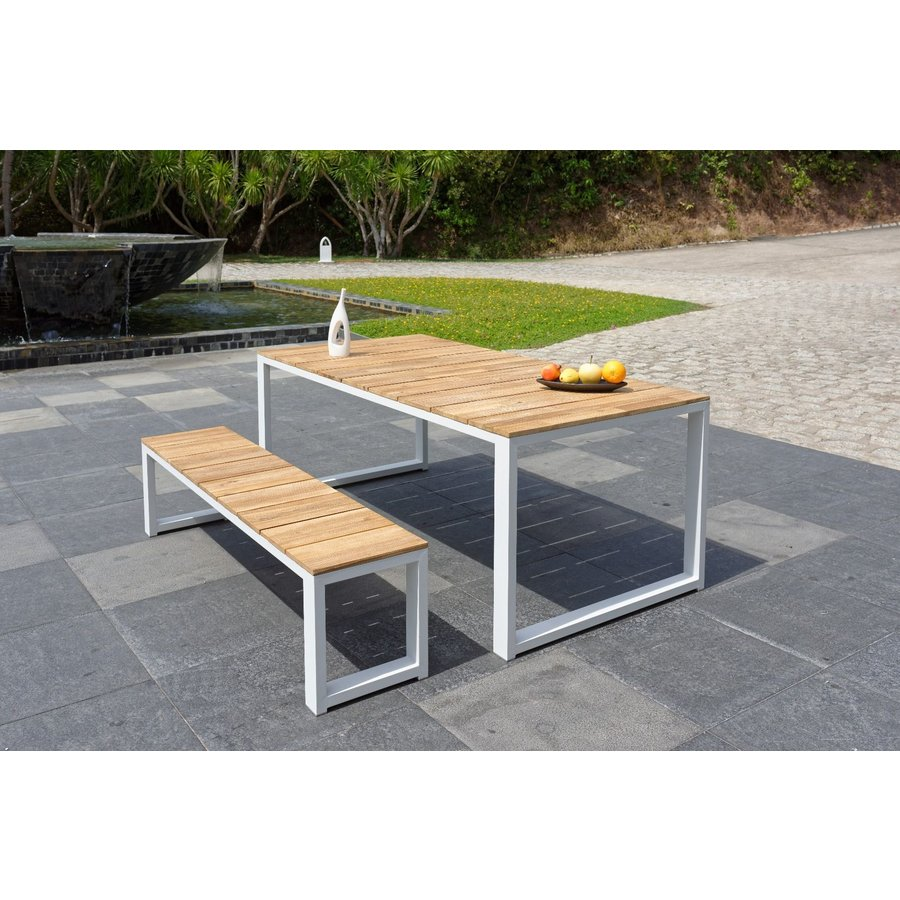 Tuintafel - Melton - Wit - Acacia/Aluminium - 200x100 cm - Garden Interiors-3
