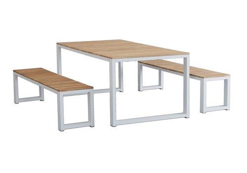 Picknickset - Melton - Wit - Acacia/Aluminium - Garden Interiors