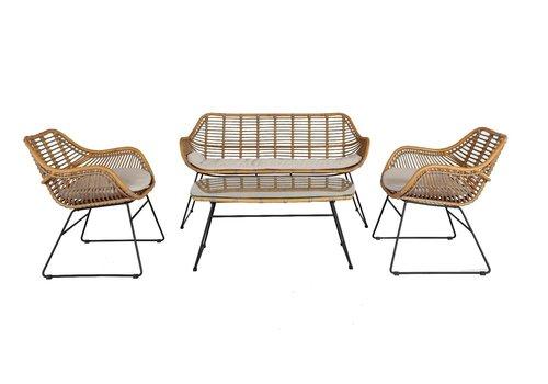 Stoel-Bank Loungeset - Wates - Rotan Look - Aluminium - Garden Interiors