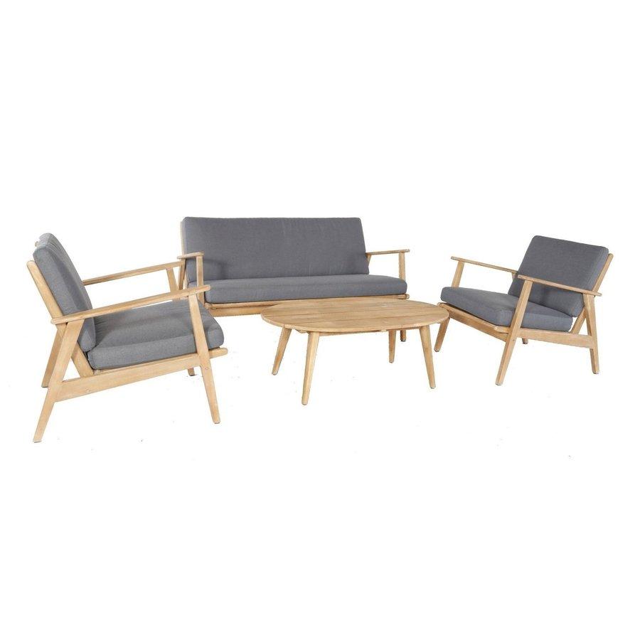 Stoel-Bank Loungeset - Narvik - Acacia - Grijs - Garden Interiors-2