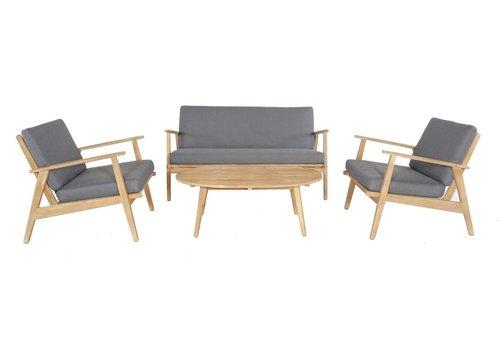 Stoel-Bank Loungeset - Narvik - Acacia - Grijs - Garden Interiors