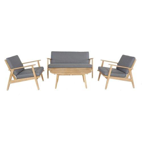 Garden Interiors Stoel-Bank Loungeset - Narvik - Acacia - Grijs - Garden Interiors