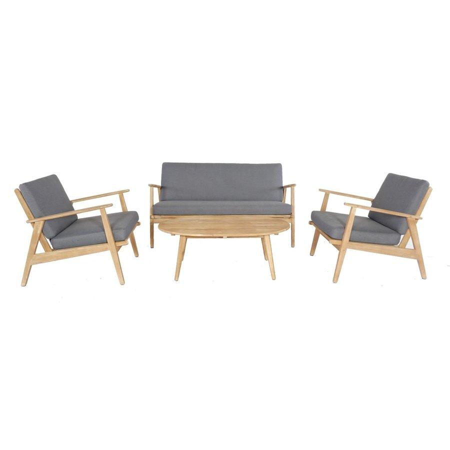 Stoel-Bank Loungeset - Narvik - Acacia - Grijs - Garden Interiors-1