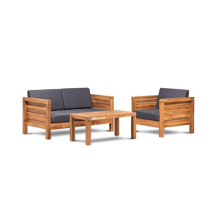 Stoel-Bank Loungeset - Texel - Acacia - Grijs - Garden Interiors-2