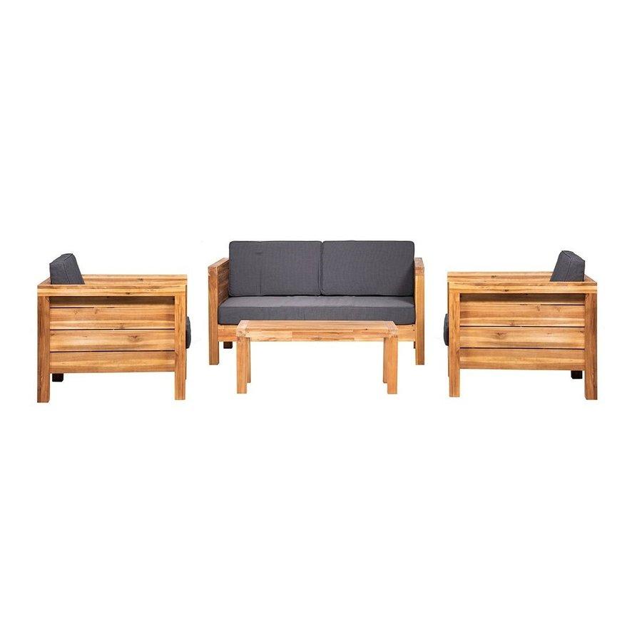 Stoel-Bank Loungeset - Texel - Acacia - Grijs - Garden Interiors-1