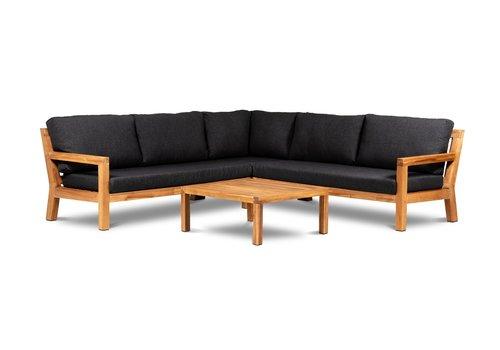 Hoek Loungeset - Harby - Acacia - Zwart - Garden Interiors