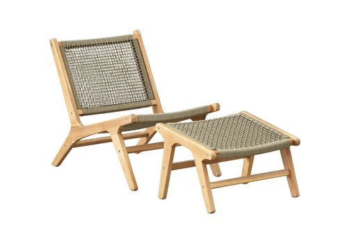 Lounge Tuinstoel + Hocker - Sesto - Acacia - Olive - Garden Interiors