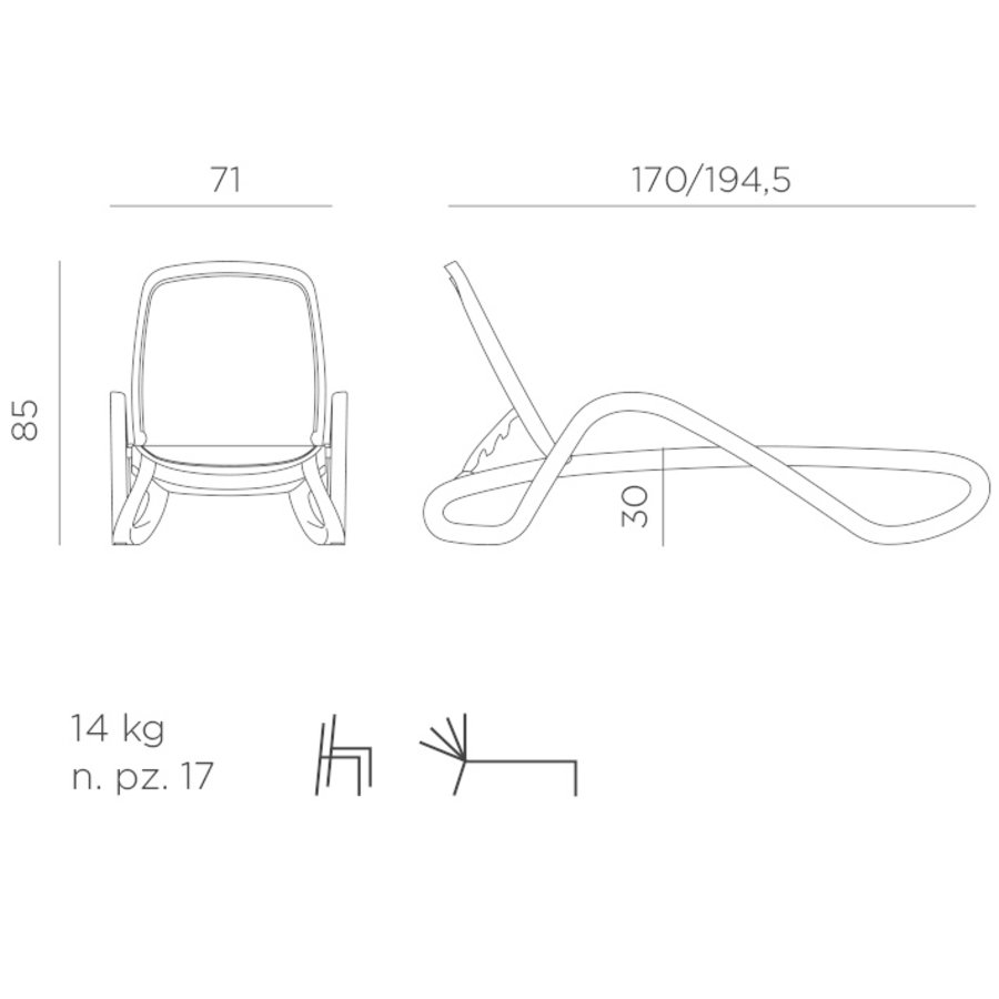 Ligbed - Alfa - Taupe - Tortora - Kunststof - Nardi-8