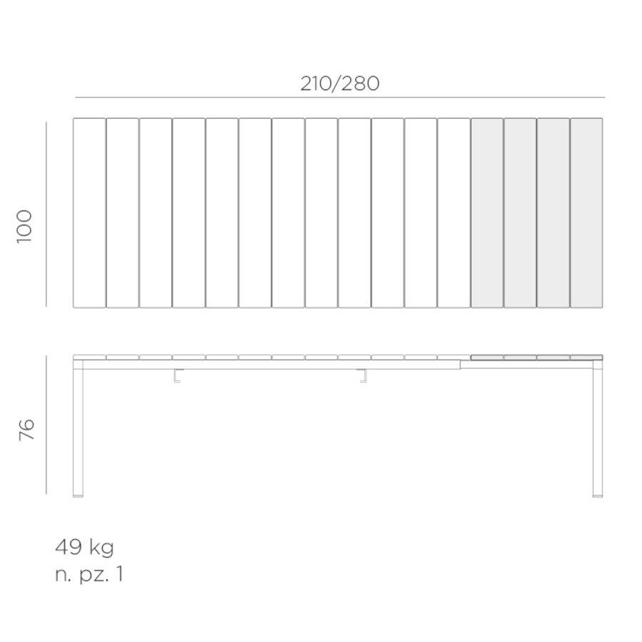 Tuintafel - RIO - Wit - Uitschuifbaar 210/280 cm - Nardi-7